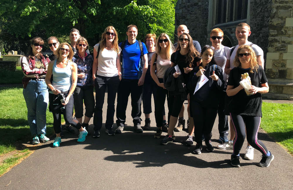 The SD & CRF Team at the start of the Thames Walk Challenge